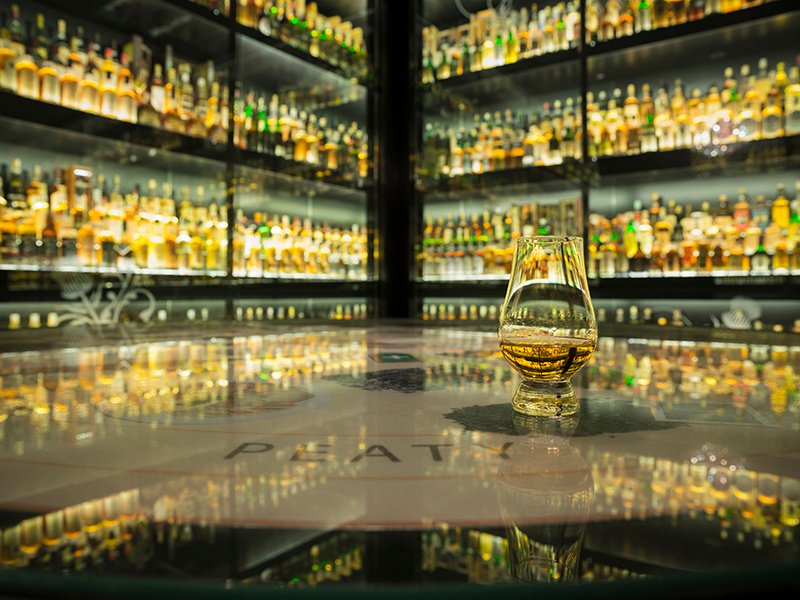 The Diageo Claive Vidiz Whisky Collection is the jewel in the crown of the Scotch Whisky Experience in Edinburgh. The bottles were amassed over 35 years and include rare bottlings from distilleries including Lagavulin, Highland Park, Laphroaig, Glen Grant, and Bruichladdich.