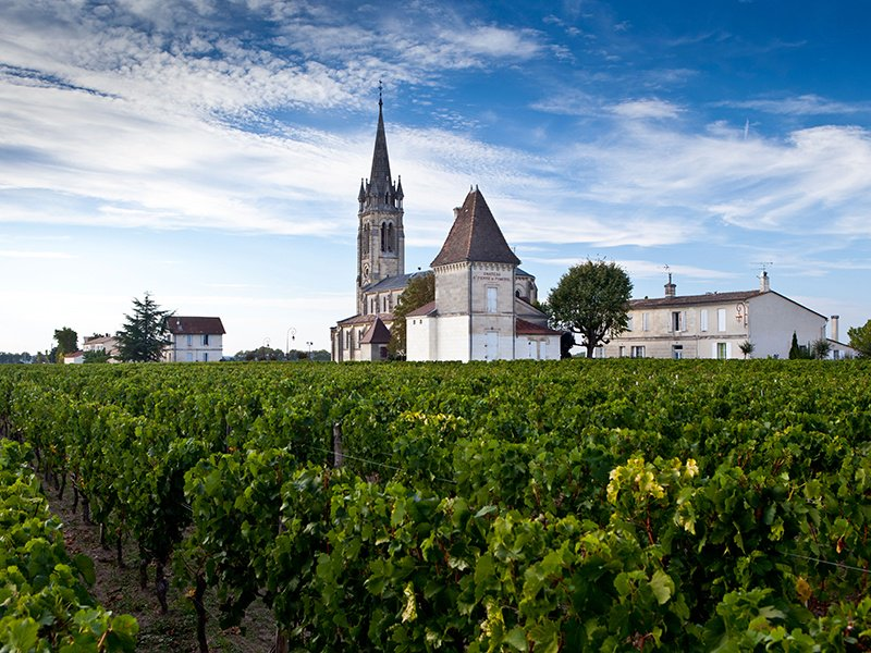 The pretty commune of Pomerol, east of Bordeaux, is covered in vines—mainly growing Merlot grapes—and dotted with châteaux and stone churches. Photograph and banner image: Alamy