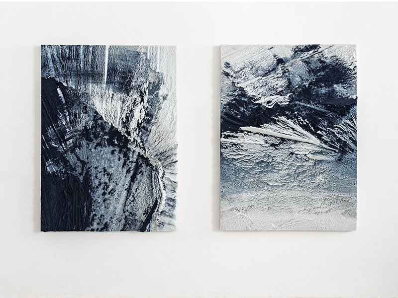 Two paintings made from powdered glass, one of the many everyday materials Mastrangelo uses to create his artworks. Photograph: Laura Barisonzi.