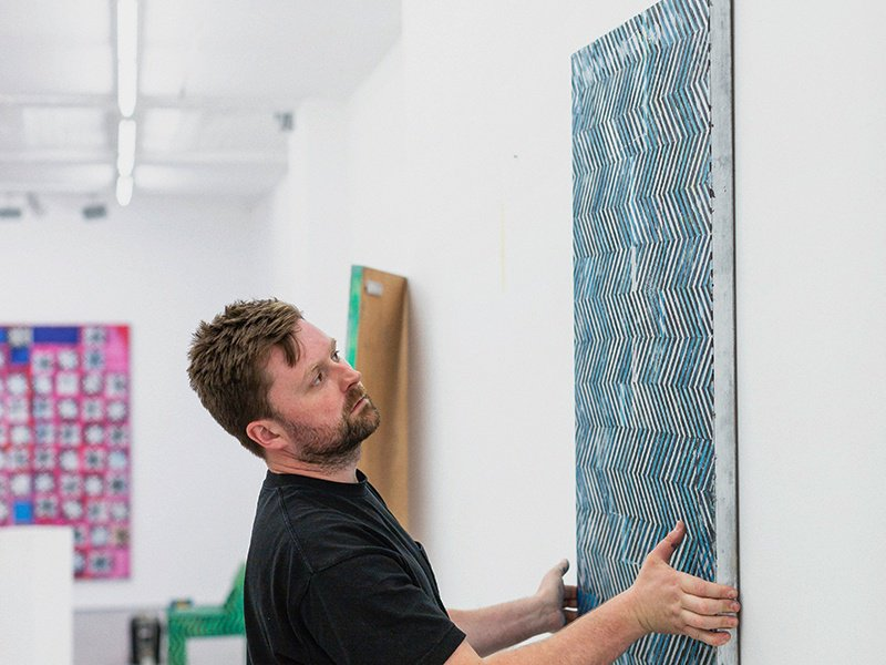 Track, an ink-and-spray-paint piece on wood by Dominic Beattie, is hung on the walls of the FOLD gallery in London by the artist. Photograph: Chris Terry.