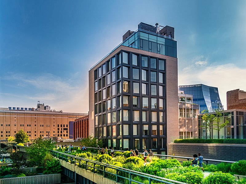 The High Line in Manhattan's Chelsea district opened in 2009 on the site of a disused elevated railway track, and offers a verdant place to relax above the busyness of the city streets. Photograph: Alamy.
