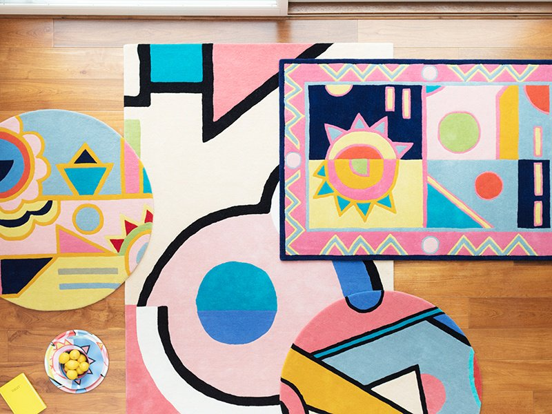 The Ndebele rug collection is the most recent addition to Lisa Todd's colorful statement work.