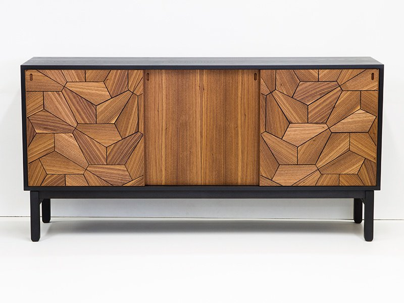 Christopher Solar's Pentagon Sideboard in ash and walnut features black resin inlay, creating a graphic statement.