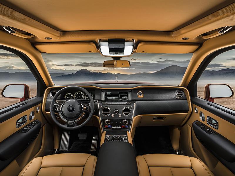 Interior and dashboard of Rolls-Royce Cullinan SUV