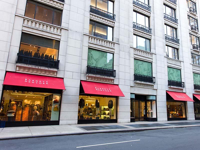 Barneys New York shopping luxury department store facade