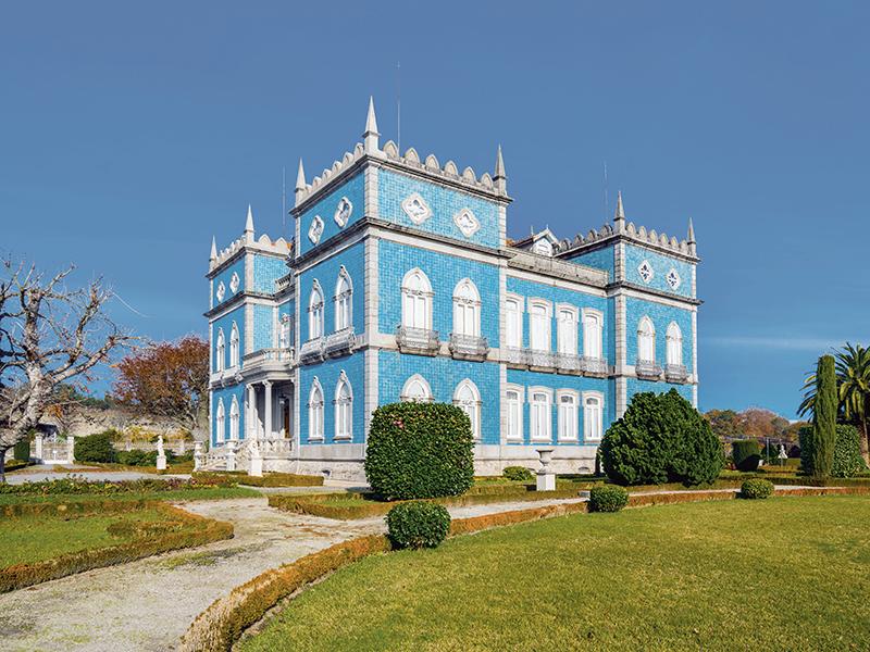 Blue palace set on lawn