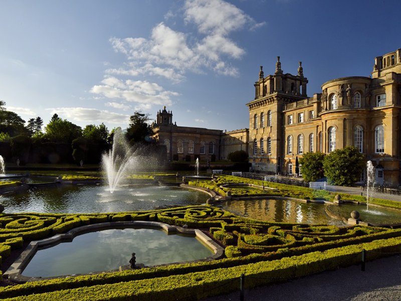 Fountains and topiary at stately home