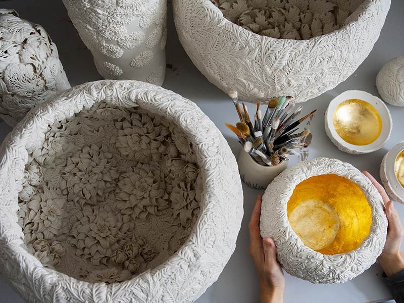 Unfired clay pots and tools