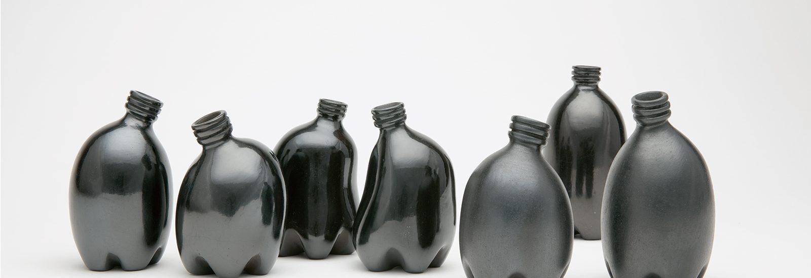 Black ceramic bottles