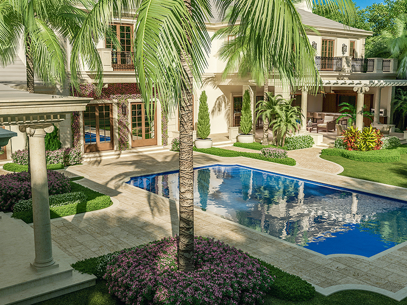 House and swimming pool with palm trees