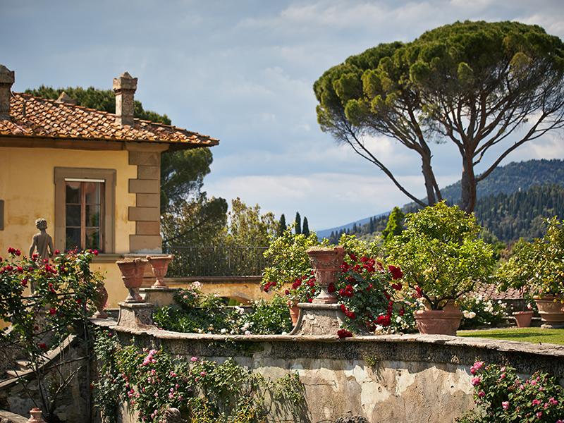 Terrace gardens and villa