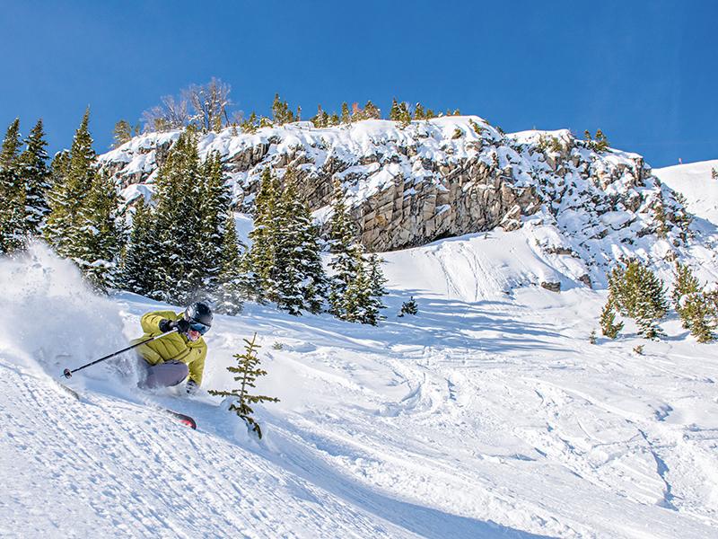 Downhill skiier on mountain