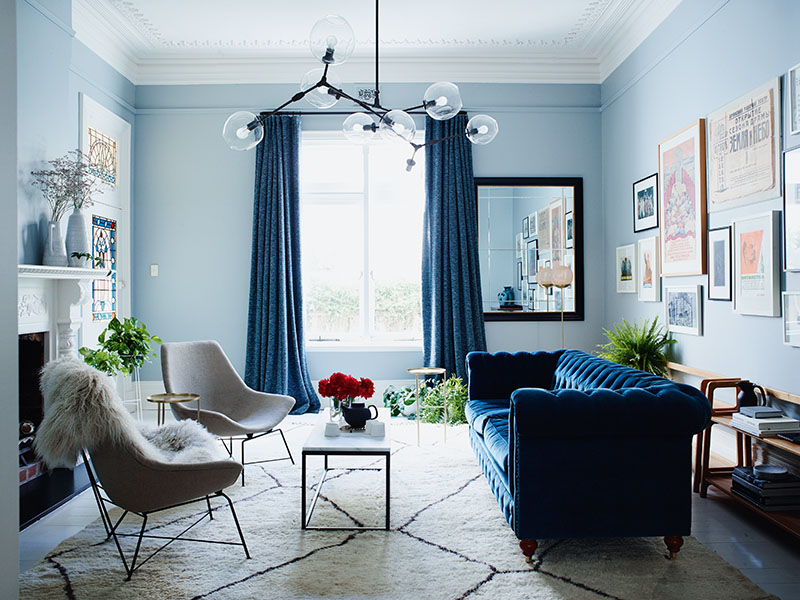 Living room with blue walls and sofa