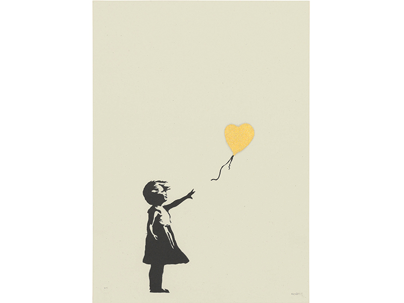 Close-up of Banksy's Girl with Balloon in Gold
