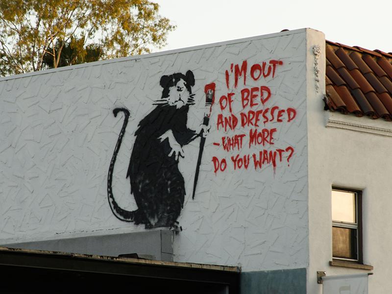 Banksy rat stencil in Melrose Avenue in Los Angeles, California