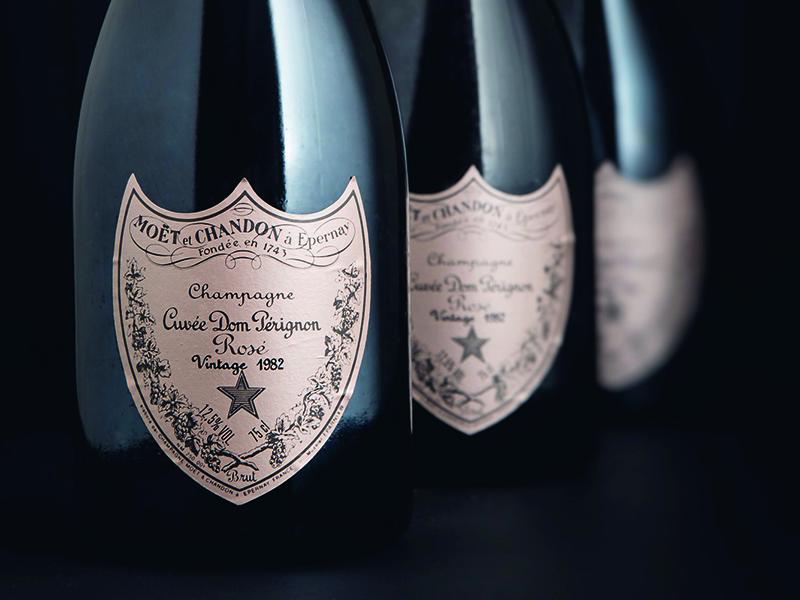 Four bottles of Dom Pérignon Rosé 1982