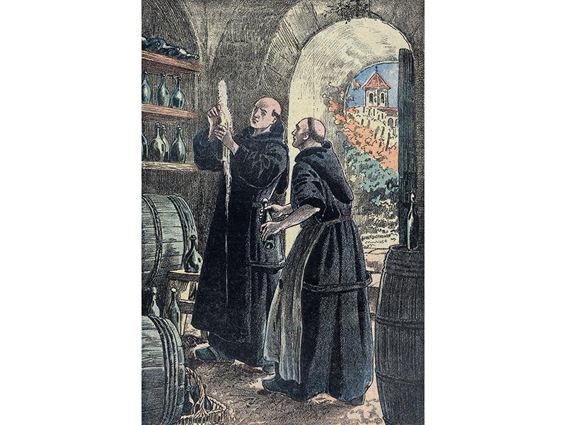 Illustration of Dom Pierre Pérignon Making Champagne