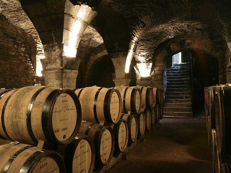 The underground wine barrel caves of Maison Joseph Drouhin in Burgundy, France
