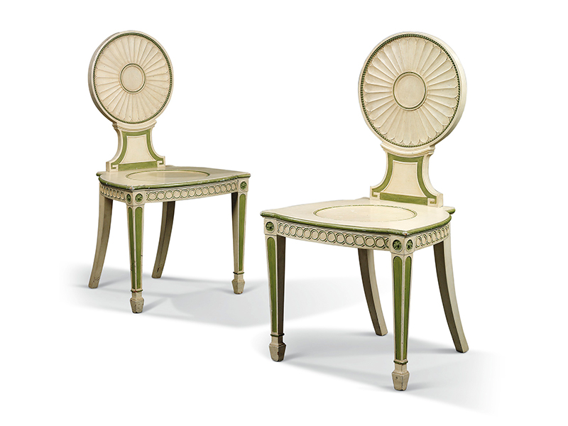 A pair of George III painted chairs by Thomas Chippendale