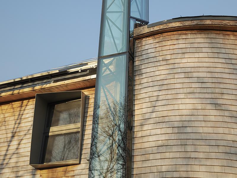 The solar chimney on Harvard HouseZero