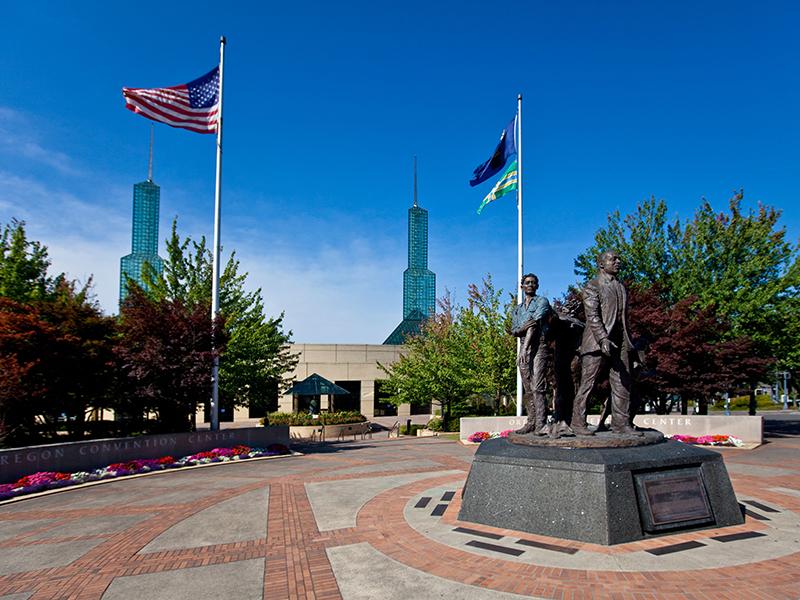 Statues outside Portland's Oregon Convention Center