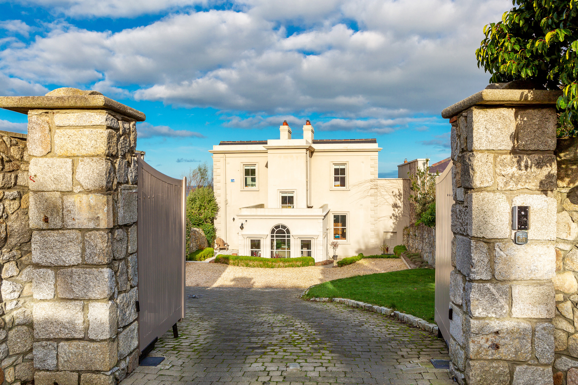 A stately Victorian residence on Ireland's most coveted coastal strip boasts three luxurious levels with uninterrupted sea views and direct access to the shore.