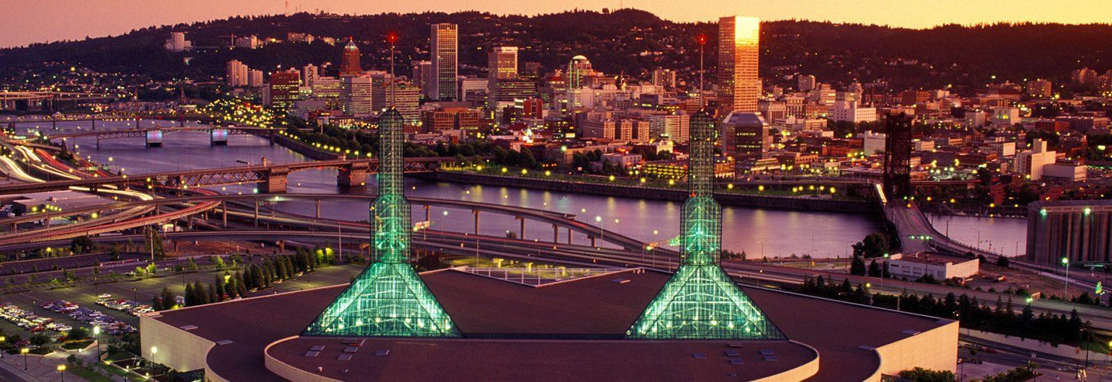 Portland Convention Center dusk
