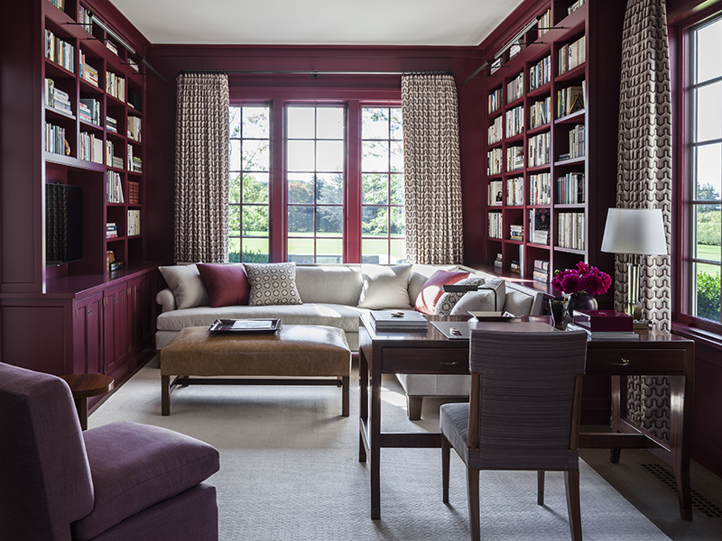 A home office and library