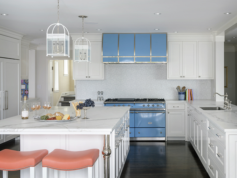 A classic kitchen with a blue stove