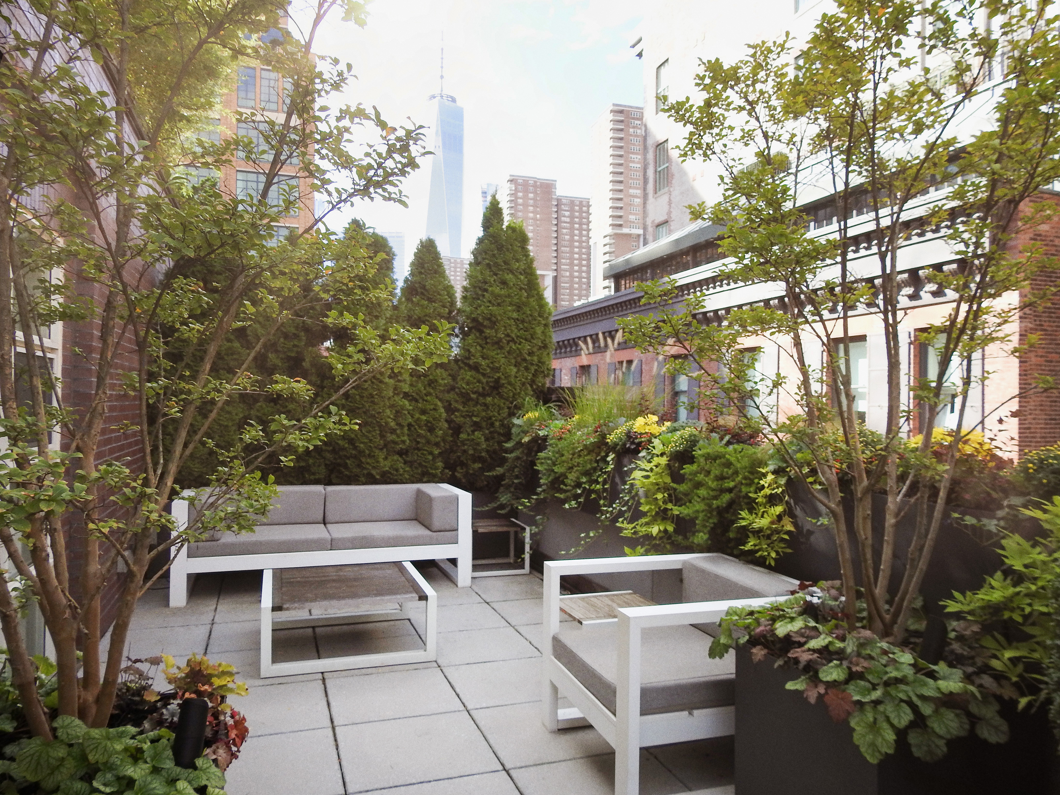 New York City rooftop with trees and seating area