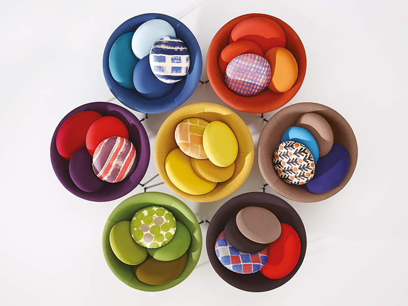 Seven different designs of Lina Bo Bardi's bowl chair