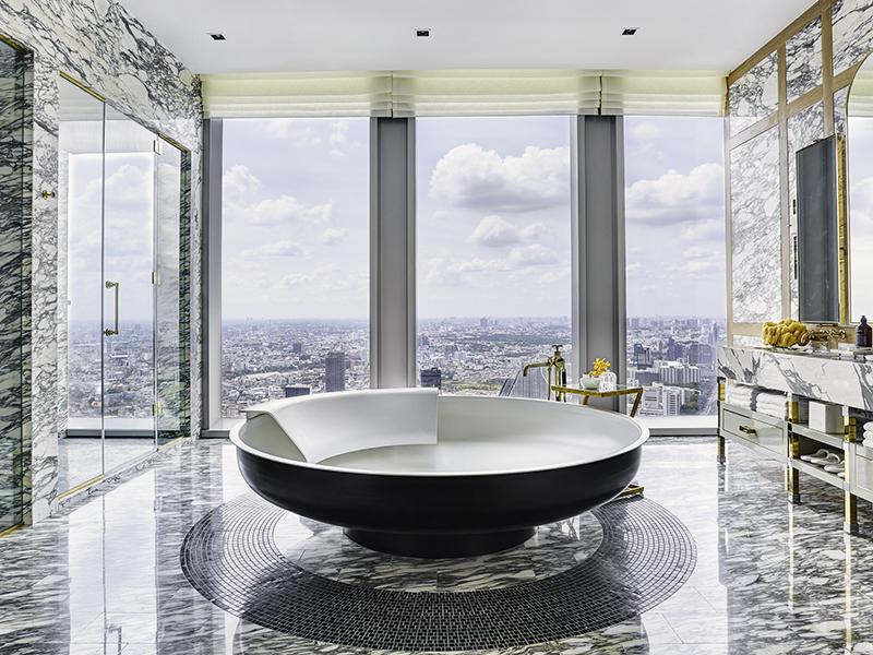 Marble bathroom in skyscraper
