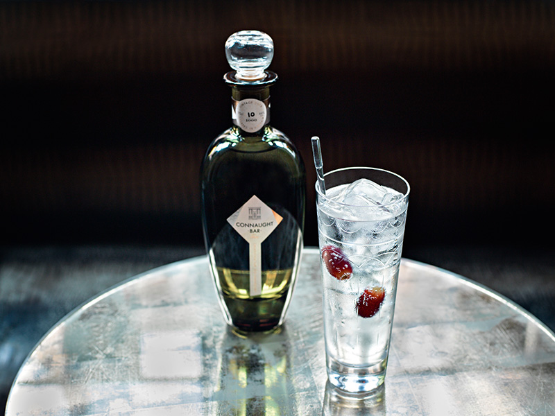 Gin bottle with tall glass of gin and tonic