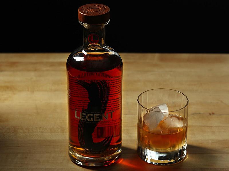 A bottle of Legent Bourbon