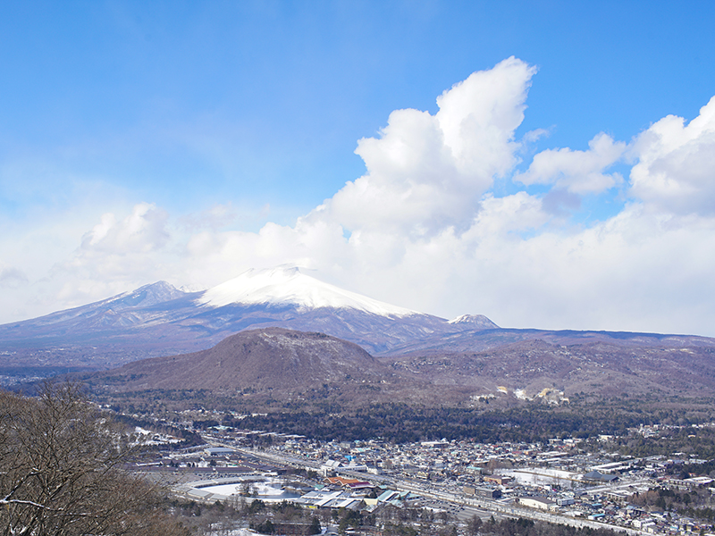 Mt. Asama in Japan covered by snow