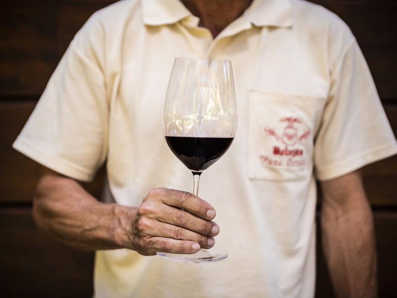 A glass of Vega Scillia Unico wine