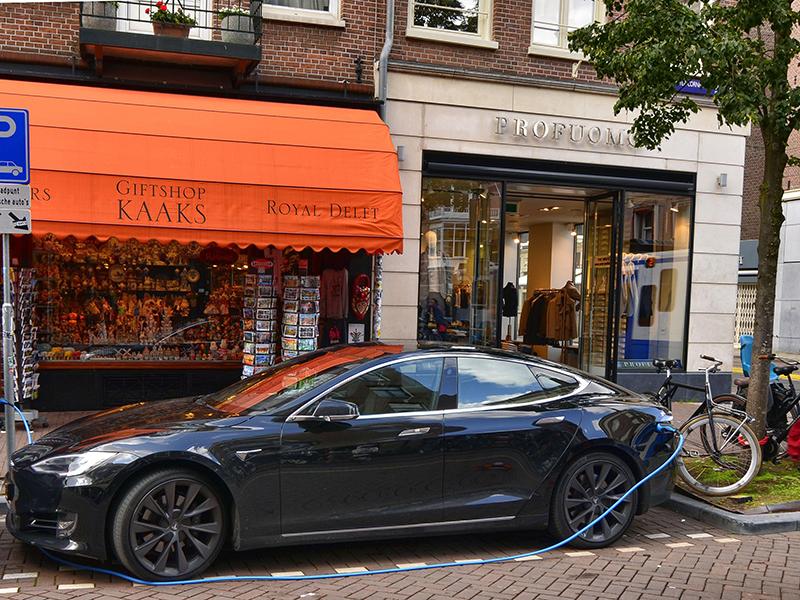 Tesla car charging in Amsterdam