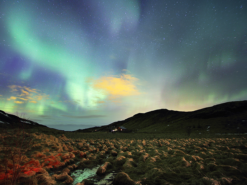 The northern lights in the sky over Lapland