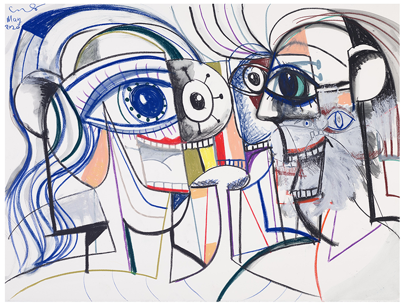 Multiple Personalities, a painting by George Condo will be available at Christie's online art auction