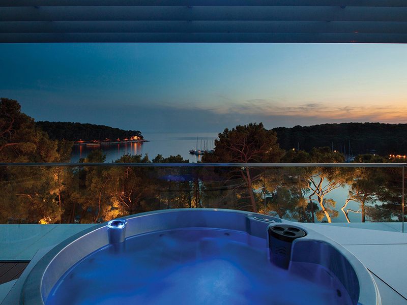 The view from a hydrotherapy tub at Hotel Bellevue, Croatia