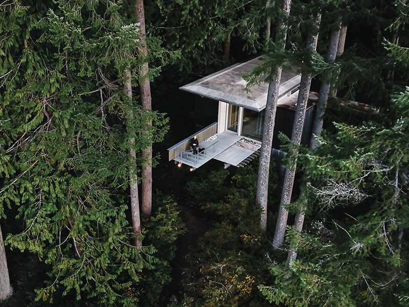 A cantlivered balcony stretches out over the forest at Longbranch Cabin