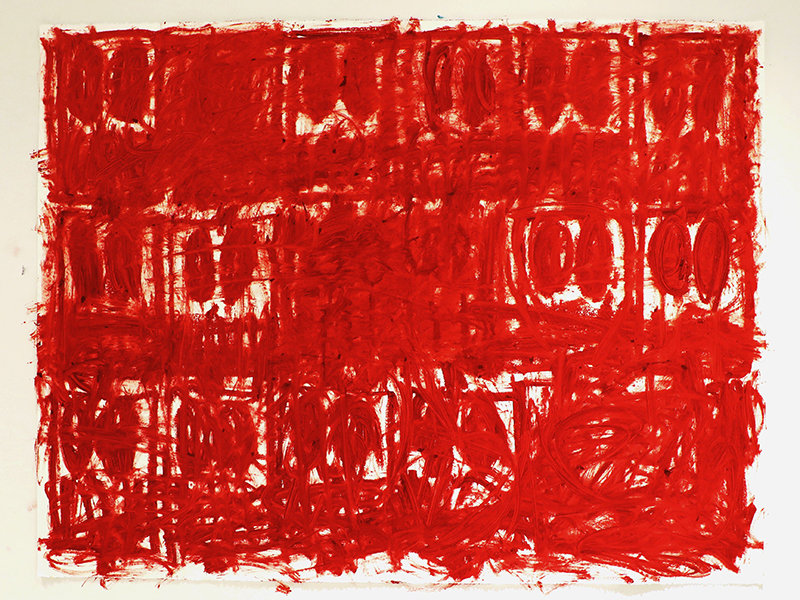 Anxious Red Drawings by artist Rashid Johnson
