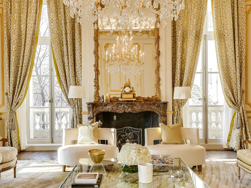 The grand living room of a Paris apartment