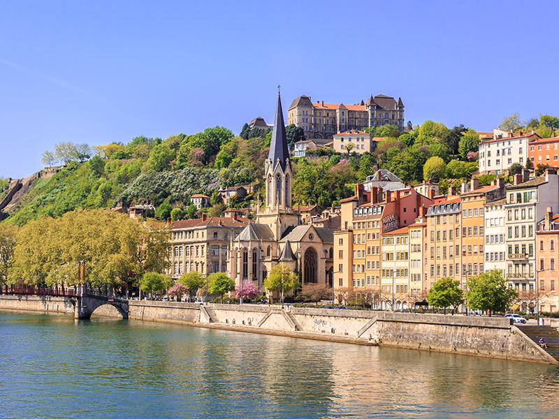 A view of Lyon, France, from the riverside