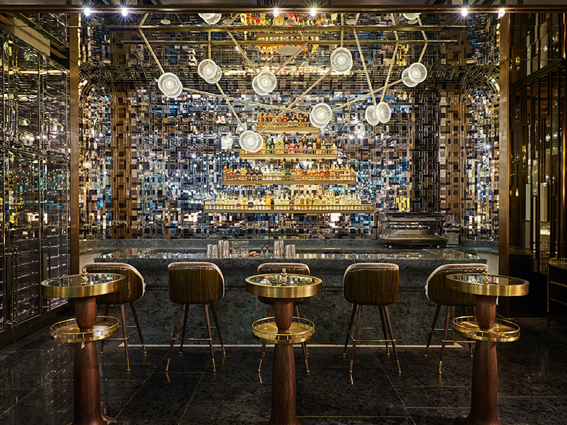 A bar filled with lights