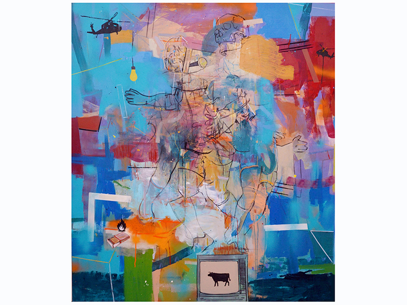 An abstract painting by Thameur Mejri