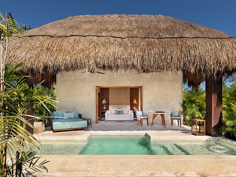 The exterior view of a villa at Chablé Maroma, a coastal escape in Mexico