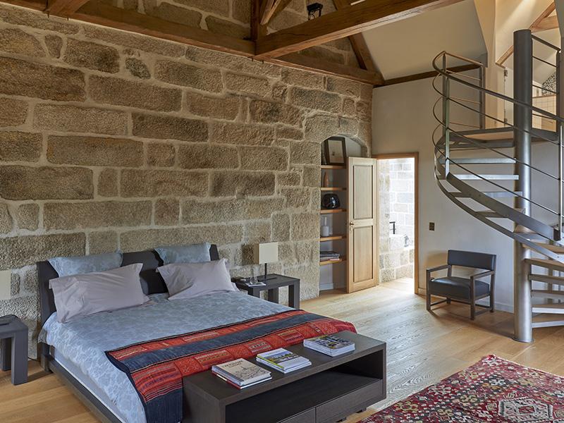 Principal bedrrom suite at the Cháteau du Hénan in Brittany, France