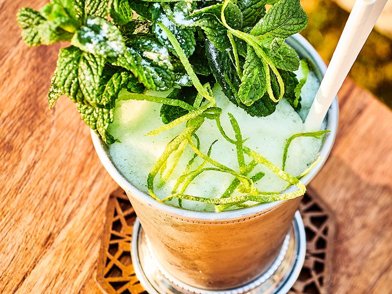 A virgin mojito topped with mint