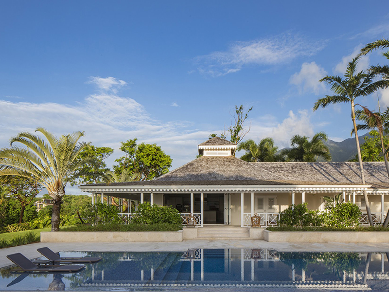 View over the pool at a villa in Resort Nevis